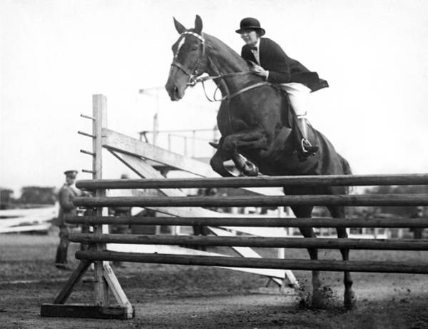 1925 Photograph - Horse Taking Jump by Underwood Archives
