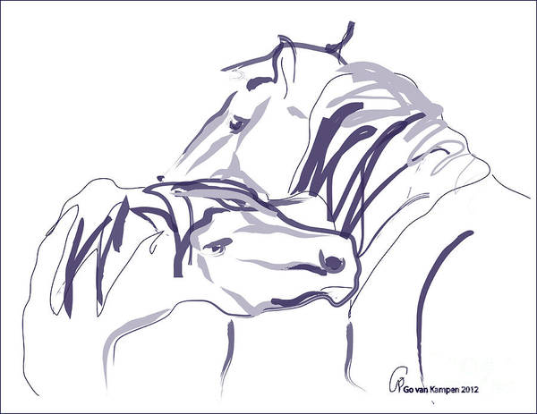 Painting - Horse - Together 10 by Go Van Kampen