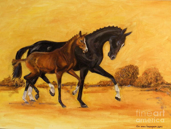 Painting - Horse - Together 2 by Go Van Kampen
