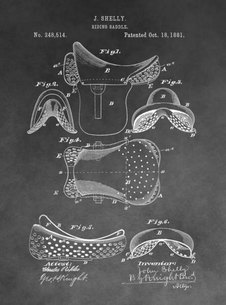 Drawing - Horseback Saddle Patent by Dan Sproul