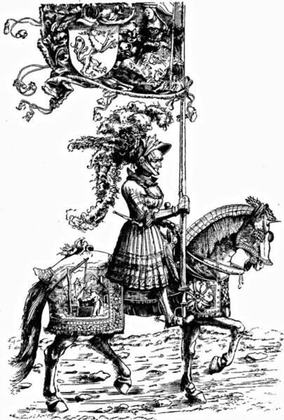 German Renaissance Drawing - Horseman Durer Etching by