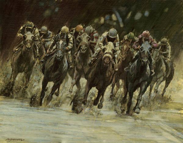 Wall Art - Painting - Horseracing In Rain by Don  Langeneckert