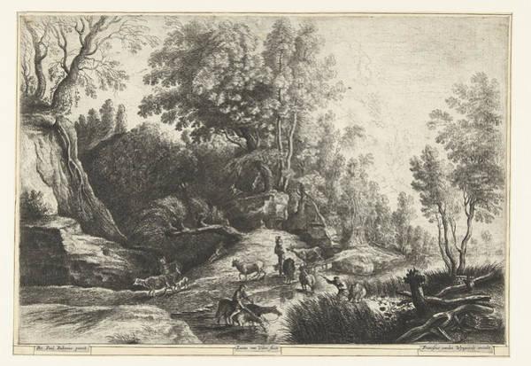 Herd Drawing - Horses And Cows At A Watering Hole, Lucas Van Uden by Lucas Van Uden And Frans Van Den Wijngaerde
