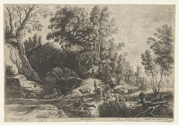 Herd Drawing - Horses And Cows At A Watering, Lucas Van Uden by Lucas Van Uden And Frans Van Den Wijngaerde