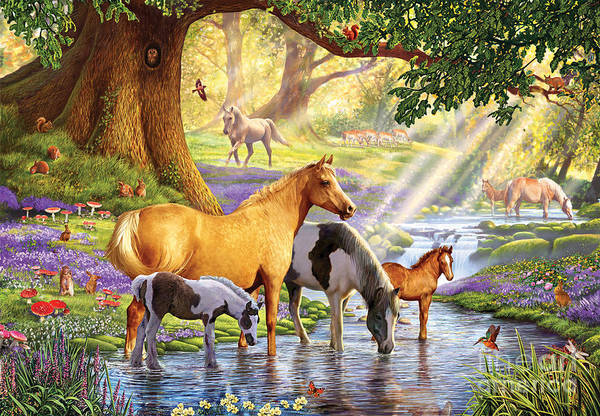Sunlight Digital Art - Horses By The Stream by MGL Meiklejohn Graphics Licensing