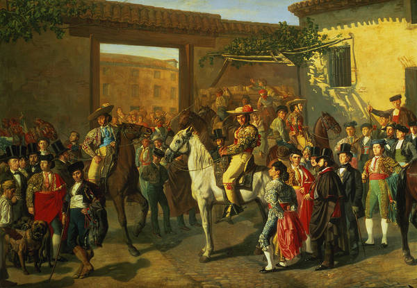 Torero Wall Art - Photograph - Horses In A Courtyard By The Bullring Before The Bullfight, Madrid, 1853 Oil On Canvas Detail by Manuel Castellano