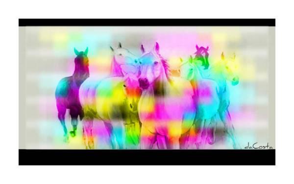 Barcode Digital Art - Horses In The Fog by Bret DaCosta