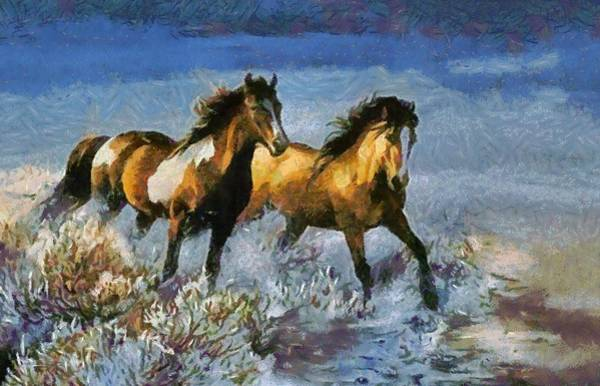 Digital Art - Horses In Water by Catherine Lott