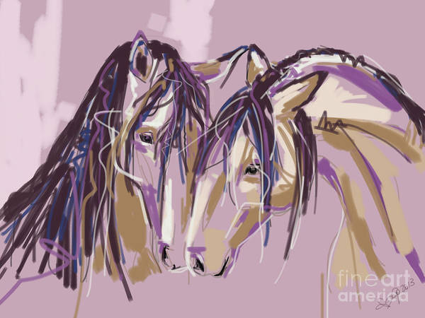 Painting - horses Purple pair by Go Van Kampen