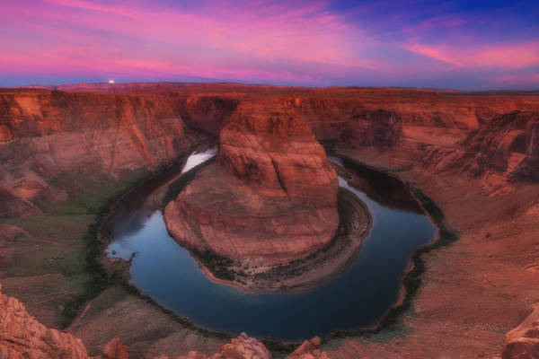 White Moon Photograph - Horseshoe Bend by Darren  White