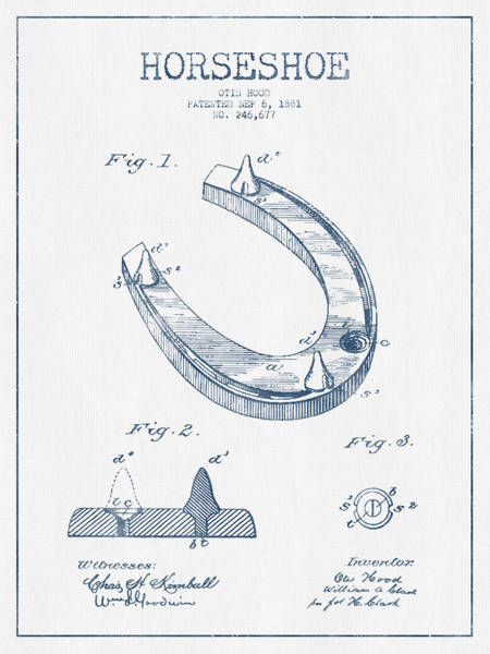 Horse Shoe Digital Art - Horseshoe Patent Drawing From 1881- Blue Ink by Aged Pixel