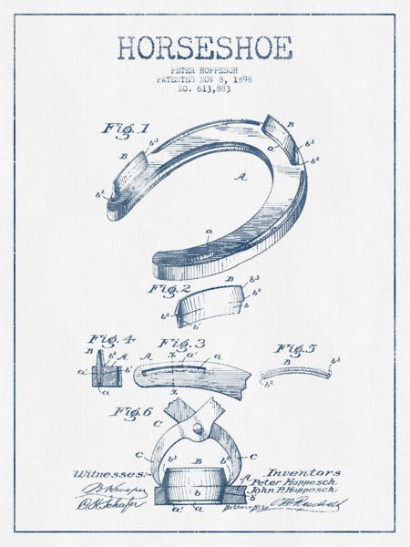 Horse Shoe Digital Art - Horseshoe Patent Drawing From 1898- Blue Ink by Aged Pixel