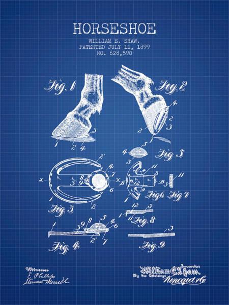Horseshoe Digital Art - Horseshoe Patent From 1899 - Blueprint by Aged Pixel