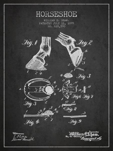 Horseshoe Digital Art - Horseshoe Patent From 1899 - Charcoal by Aged Pixel