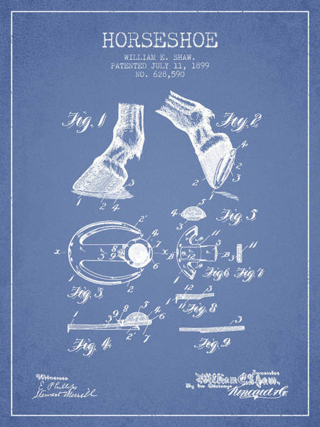 Horseshoe Digital Art - Horseshoe Patent From 1899 - Light Blue by Aged Pixel