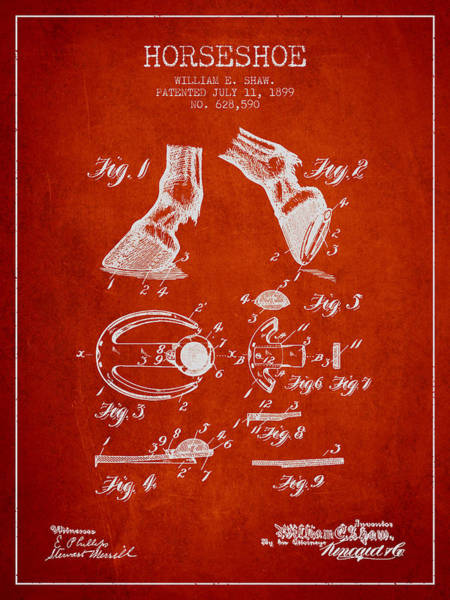 Horseshoe Digital Art - Horseshoe Patent From 1899 - Red by Aged Pixel