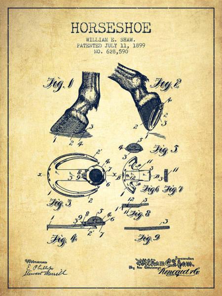 Horseshoe Digital Art - Horseshoe Patent From 1899 - Vintage by Aged Pixel