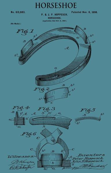 Mixed Media - Horseshoe Patent On Blue by Dan Sproul