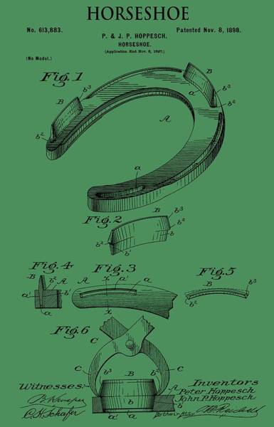 Mixed Media - Horseshoe Patent On Green by Dan Sproul
