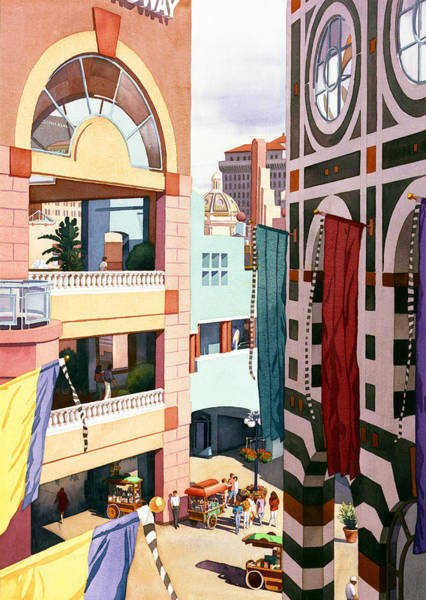 Shopping Painting - Horton Plaza San Diego by Mary Helmreich