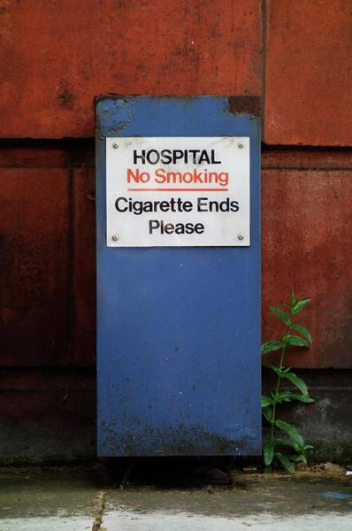 No Smoking Wall Art - Photograph - Hospital \no Smoking\ Sign by Cordelia Molloy