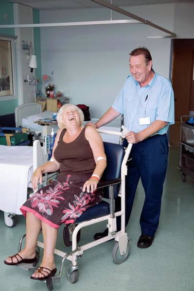 Porter Photograph - Hospital Porter And Patient by Mark Thomas/science Photo Library