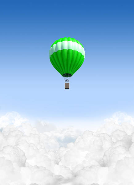 Hot Air Balloon Digital Art - Hot Air Balloon Above The Clouds by Allan Swart