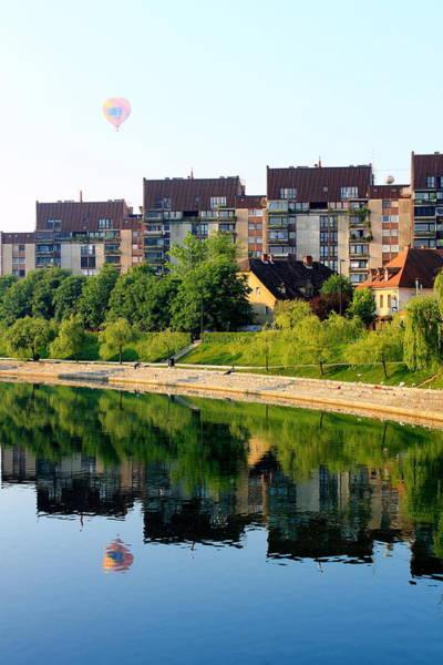 Ljubljana Wall Art - Photograph - Hot Air Balloon Over Ljubljana by Saya Studios