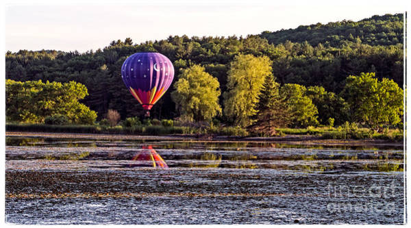 Photograph - Hot Air Balloon Over Pond by Edward Fielding