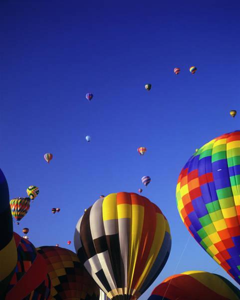 Balloon Festival Photograph - Hot Air Balloons Aloft by Greg Probst