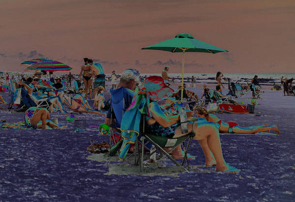 Solarized Photograph - Hot Day At The Beach - Solarized by Suzanne Gaff