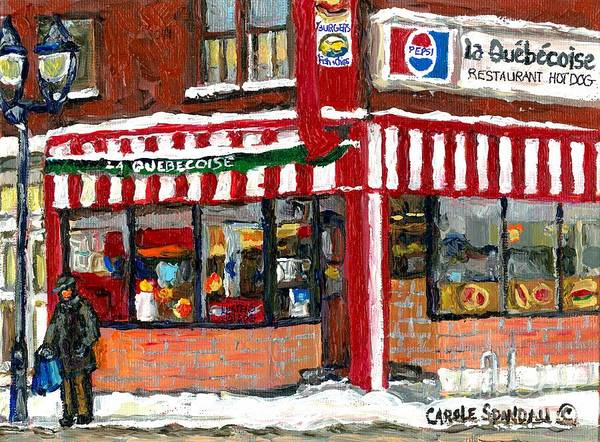 Painting - Hot Food On A Cold Day Quebec Restaurant Winter Scene Paintings Waiting For The Bus Montreal Art  by Carole Spandau