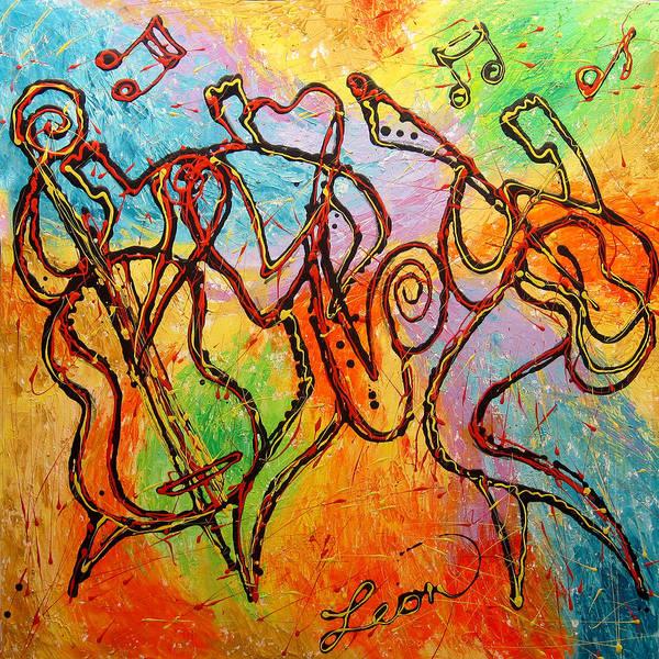Wall Art - Painting - Hot Jazz 2  by Leon Zernitsky
