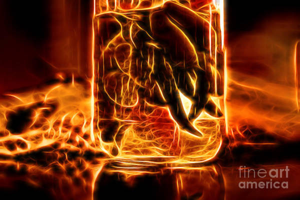 Ingredient Digital Art - Hot Peppers In A Bottle by Milan Karadzic
