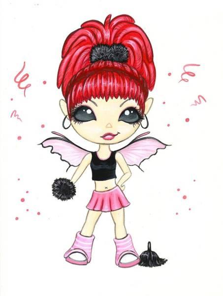 Wall Art - Painting - Hot Pink Cheerleader  by Elaina  Wagner