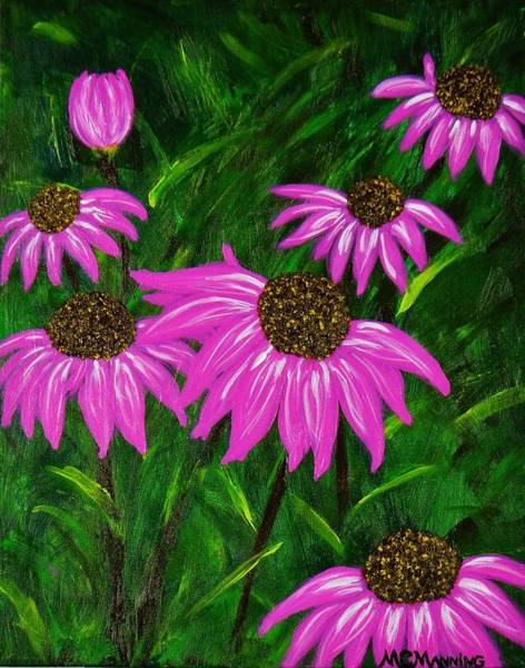Coneflower Painting - Hot Pink Jungle by Celeste Manning