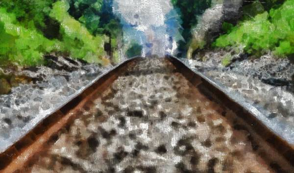 Painting - Hot Railroad Tracks Summer Day by Dan Sproul