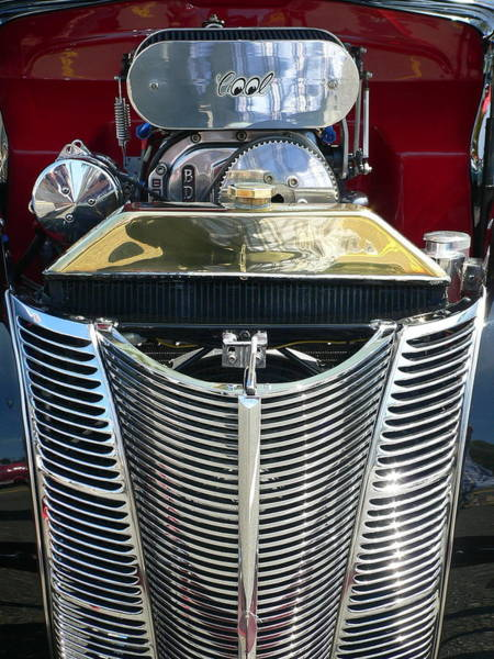 Photograph - Hot Rod Polished Steel Engine And Grill by Jeff Lowe