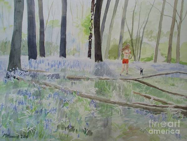 Jogging Painting - Hot Spring Bluebell Jogger by Martin Howard