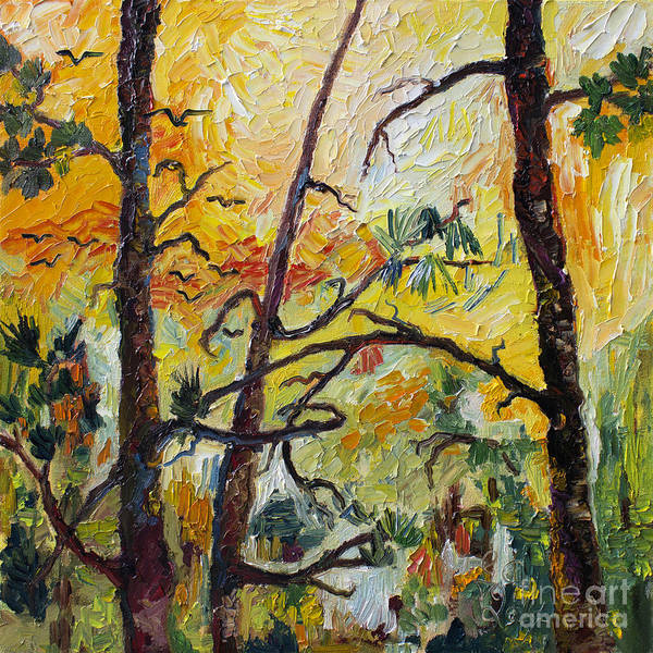 Painting - Hot Summer Sunset Through The Pines by Ginette Callaway