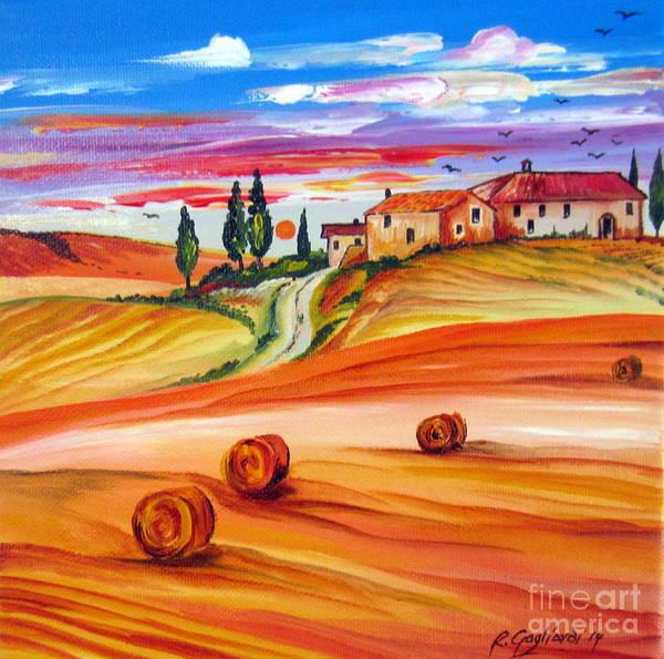 Tramonto Wall Art - Painting - Hot Summer Tuscany Sunset by Roberto Gagliardi