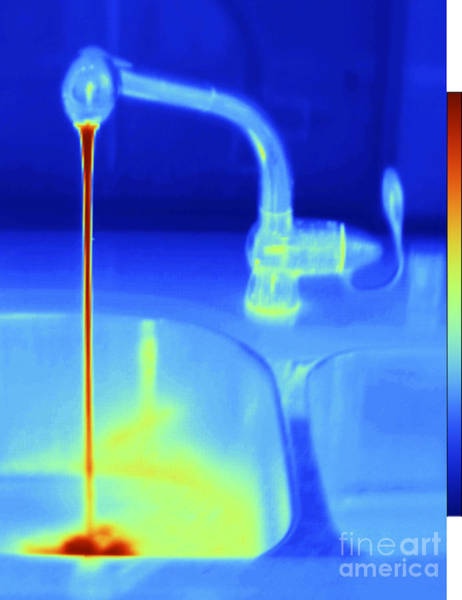 Infrared Radiation Photograph - Hot Water Faucet by GIPhotoStock