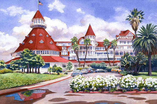 Destination Wall Art - Painting - Hotel Del Coronado After Rain by Mary Helmreich
