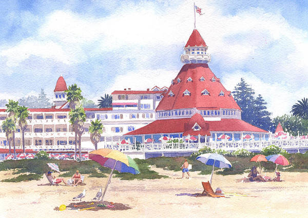 Tourist Wall Art - Painting - Hotel Del Coronado Beach by Mary Helmreich