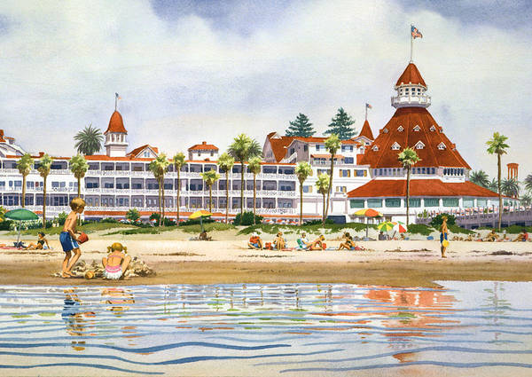 California Wall Art - Painting - Hotel Del Coronado From Ocean by Mary Helmreich