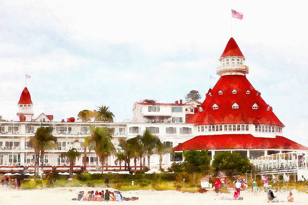 South Beach Digital Art - Hotel Del Coronado In Coronado California 5d24256wcstyle by Wingsdomain Art and Photography