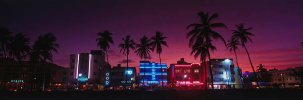 Neon Pink Photograph - Hotels Illuminated At Night, South by Panoramic Images