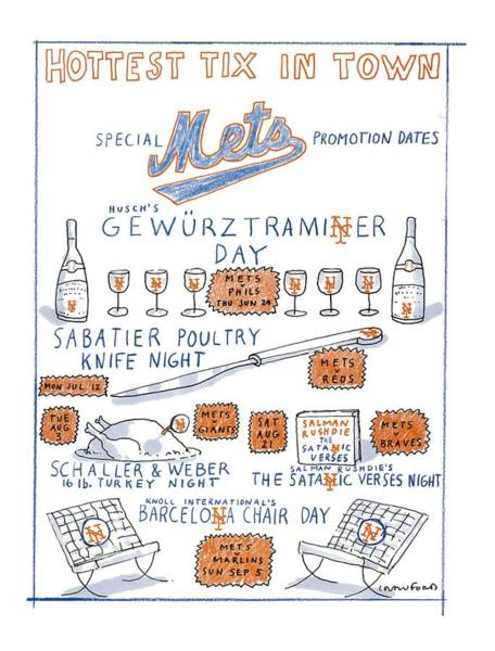 Wall Art - Drawing - Hottest Tix In Town Special Mets Promotion Dates by Michael Crawford