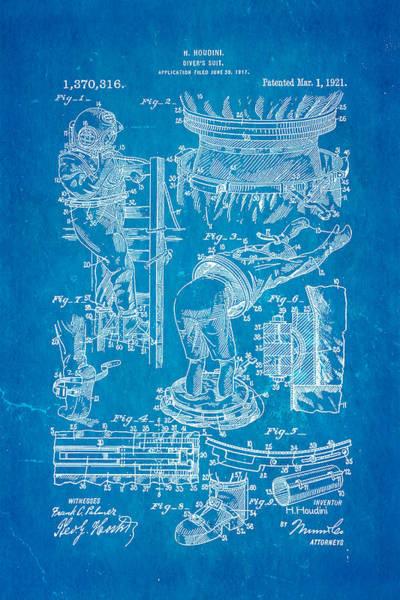 Diving Suit Photograph - Houdini Diving Suit Patent Art 1921 Blueprint by Ian Monk