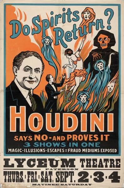 Wall Art - Photograph - Houdini Spiritualist Debunking Show by Library Of Congress/science Photo Library